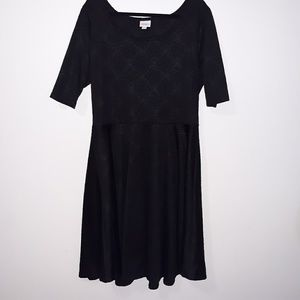 LulaRoe Nicole Solid Black Flare Dress 3X